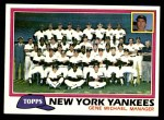 1981 Topps #670   Yankees Team Checklist Front Thumbnail