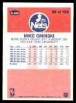 1986 Fleer #38  Mike Gminski  Back Thumbnail