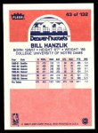 1986 Fleer #43  Bill Hanzlik  Back Thumbnail