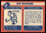 1968 Topps #28  Alex Delvecchio  Back Thumbnail