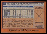 1978 Topps #476  Bill Stein  Back Thumbnail