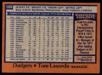 1978 Topps #189  Tommy Lasorda  Back Thumbnail