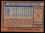 1978 Topps #629  Don Stanhouse  Back Thumbnail
