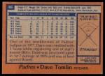 1978 Topps #86  Dave Tomlin  Back Thumbnail