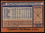 1978 Topps #644  Jim Dwyer  Back Thumbnail