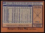 1978 Topps #362  Dave May  Back Thumbnail