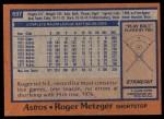 1978 Topps #697  Roger Metzger  Back Thumbnail