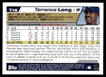 2004 Topps Traded #16 T Terrence Long  Back Thumbnail
