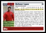 2005 Topps Update #233  Baltazar Lopez   Back Thumbnail