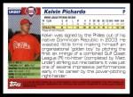 2005 Topps Update #287  Kelvin Pichardo   Back Thumbnail