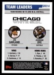2006 Topps Update #314   -  Jon Garland / Jermaine Dye White Sox Team Leaders Back Thumbnail