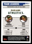 2006 Topps Update #317   -  Frank Thomas / Barry Zito Athletics Team Leaders Back Thumbnail