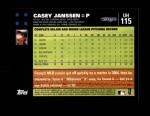 2007 Topps Update #115  Casey Janssen  Back Thumbnail