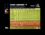 2007 Topps Update #115  Casey Janssen  Back Thumbnail