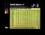 2007 Topps Update #15  David Wells  Back Thumbnail