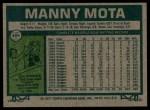 1977 Topps #386  Manny Mota  Back Thumbnail
