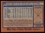 1978 Topps #599  Gary Woods  Back Thumbnail