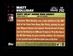 2007 Topps Update #292  Matt Holliday  Back Thumbnail