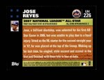 2007 Topps Update #226  Jose Reyes  Back Thumbnail