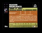 2007 Topps Update #207  Prince Fielder  Back Thumbnail