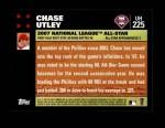 2007 Topps Update #225  Chase Utley  Back Thumbnail