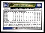 2008 Topps Updates #39  Jose Molina  Back Thumbnail