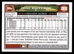 2008 Topps Updates #110  Jose Valverde  Back Thumbnail