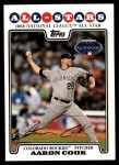 2008 Topps Update #286   -  Aaron Cook All-Star Front Thumbnail