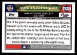 2008 Topps Updates #229   -  Adrian Gonzalez All-Star Back Thumbnail