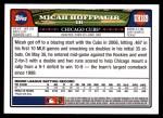 2008 Topps Updates #189  Micah Hoffpauir  Back Thumbnail