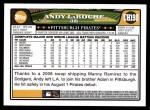 2008 Topps Updates #198  Andy LaRoche  Back Thumbnail