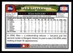 2008 Topps Updates #186  Wes Littleton  Back Thumbnail