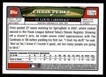 2008 Topps Updates #273  Chris Perez  Back Thumbnail