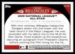 2009 Topps Update #159  Chad Billingsley  Back Thumbnail