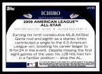 2009 Topps Update #153  Ichiro Suzuki  Back Thumbnail