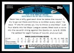 2009 Topps Update #73  Sean West  Back Thumbnail