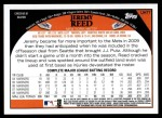 2009 Topps Update #77  Jeremy Reed  Back Thumbnail