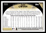 2009 Topps Update #96  Tony Gwynn  Back Thumbnail