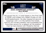2009 Topps Update #293  Aaron Hill  Back Thumbnail
