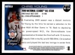 2010 Topps Update #124  Chris Young  Back Thumbnail
