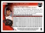2010 Topps Update #74  Ryan Church  Back Thumbnail