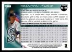 2010 Topps Update #138  Brandon League  Back Thumbnail