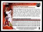2010 Topps Update #123  Alberto Callaspo  Back Thumbnail