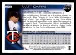 2010 Topps Update #107  Matt Capps  Back Thumbnail