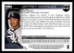 2010 Topps Update #201  Jeffrey Marquez  Back Thumbnail