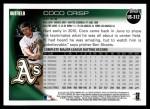2010 Topps Update #312  Coco Crisp  Back Thumbnail