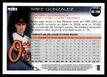 2010 Topps Update #256  Mike Gonzalez  Back Thumbnail