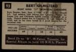 1952 Parkhurst #93  Bert Olmstead  Back Thumbnail
