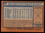 1978 Topps #620  Willie Randolph  Back Thumbnail