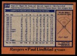 1978 Topps #314  Paul Lindblad  Back Thumbnail